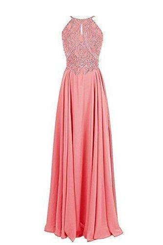 Spaghetti Straps A-line Chiffon prom Dress Crystals Women Dress