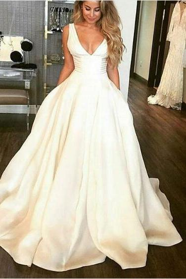 V-neck Ivory Satin Bridal Gowns Ball Gown Women Wedding Dresses