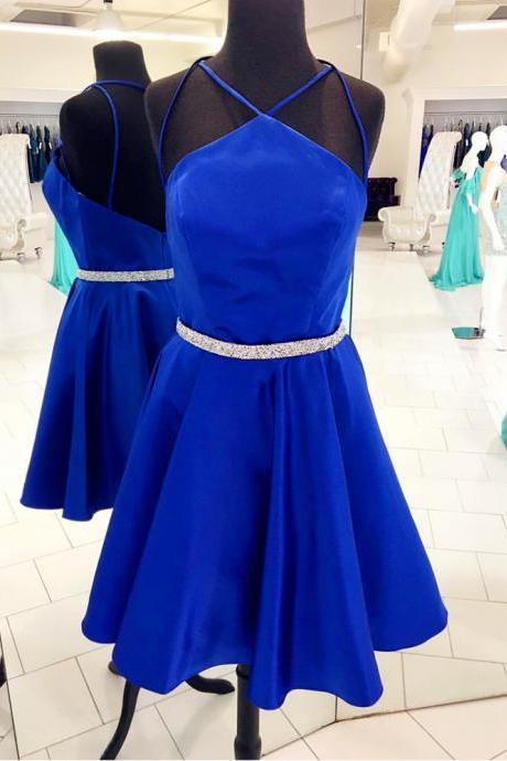 Royal Blue Short Satin Prom Dresses Spaghetti Straps Women Dresses
