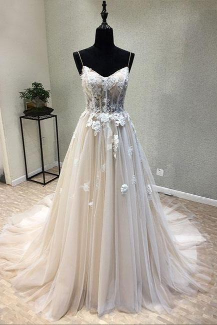 Spaghetti Straps A-line Tulle Prom Dresses Lace Appliques Women Dresses