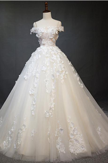 Off Shoulder A-line Tulle Wedding Dresses Lace Appliques Women Bridal Gowns