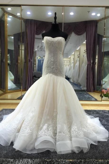 Sweetheart Neck Mermaid Tulle Bridal Gowns Crystals Women Wedding Dresses