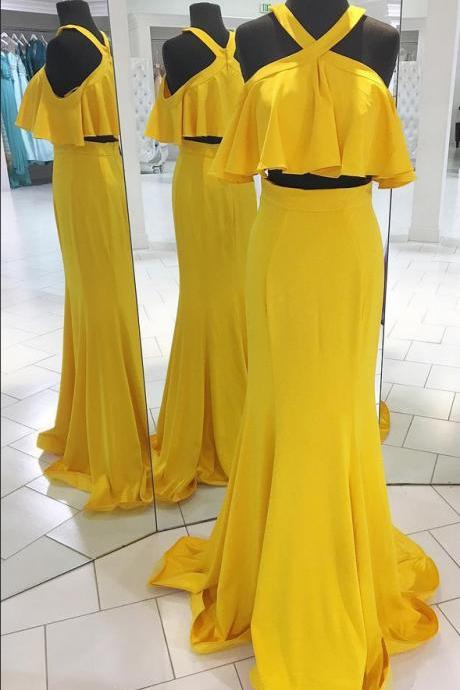 2 Pieces Yellow Chiffon Prom Dress Halter Neck Floor Length Women Evening Dress