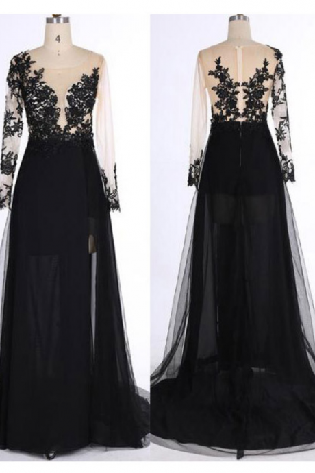 Long Sleeves Black Tulle Prom Dress Scoop neck Floor Length Women Evening Dresses