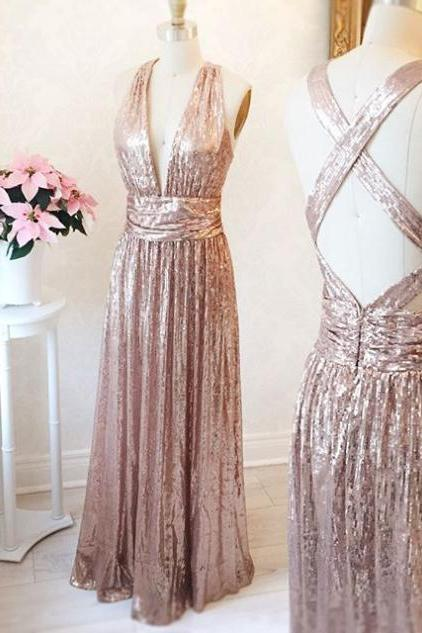 Sequin Lace Prom Dress V-neck Straps Women Evening Dress