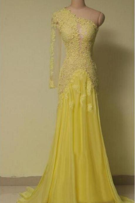 One Shoulder Sheath Tulle Prom Dress Lace Appliques Women Evening Dress