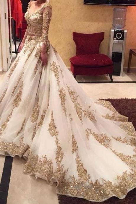 India Style Long Sleeves Women Wedding Dress with Golden Appliques Women Bridal Gowns