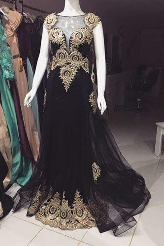 Scoop Neck Long Black Tulle Prom Dress Golden Appliques Women Evening Dress