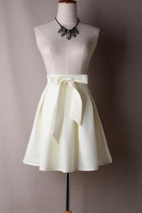 Ivory Satin Tutus Skirt Bow ties TT04