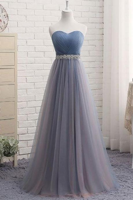Sweetheart Tulle Prom Dress Pleat Long Women Evening Dress