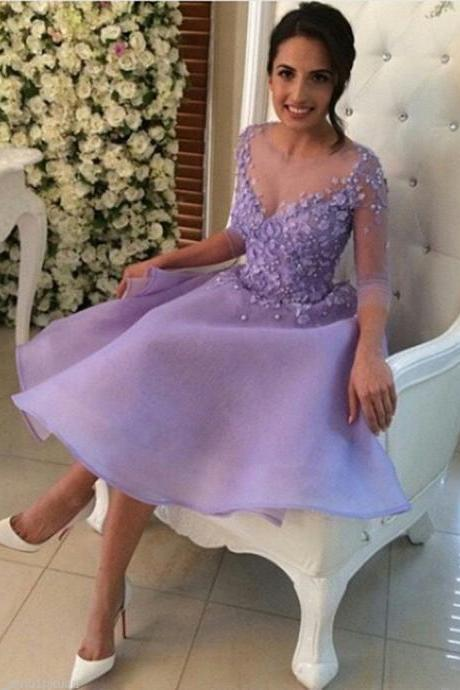 Half Sleeves Purple Organza Prom Dress Scoop Neck Appliques Party Dress