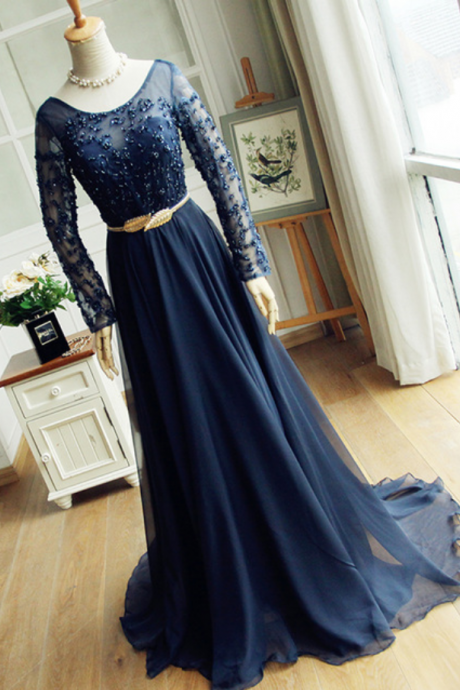 Navy Blue Chiffon Evening Dress Long Sleeves Lace Beaded Women Dress