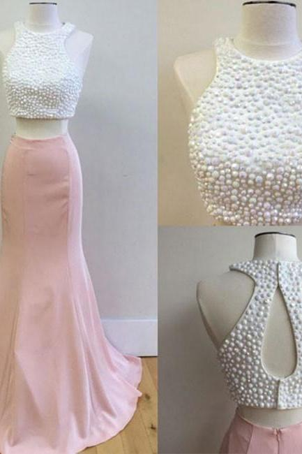 Pink Prom Dress Long Prom Dress 2 Pieces Prom Dress Beaded Women Party Dress Sheath Women Dress