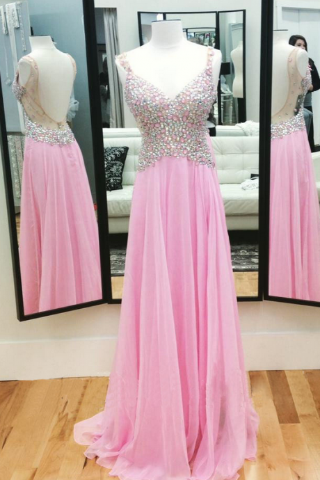 Pink Chiffon Prom Dress V Neck Crystals Women Party Dress