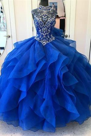 Ball Gown Tulle Prom Dress High Neck Blue Beaded Women Party Dress AF060106