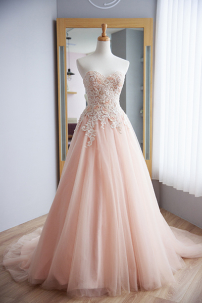 Sweetheart Long Tulle Prom Dress Lace Appliques Women Party Dress AF060330
