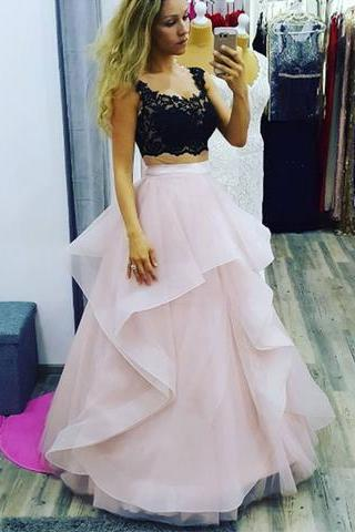 2 Pieces Pink Tulle Prom Dress Scoop Neck Lace Long Women Party Dress AF060405
