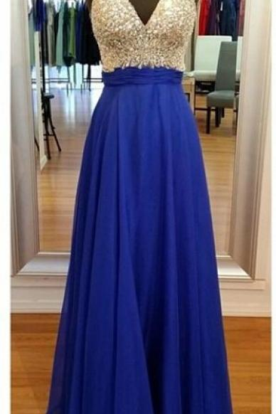 V Neck Long Chiffon Blue Prom Dress Beaded Women Party Dress AF062201