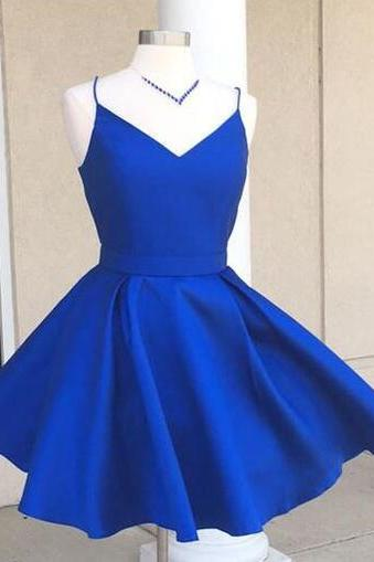 Royal Blue Plunge V Spaghetti Straps Short Skater Homecoming Dress