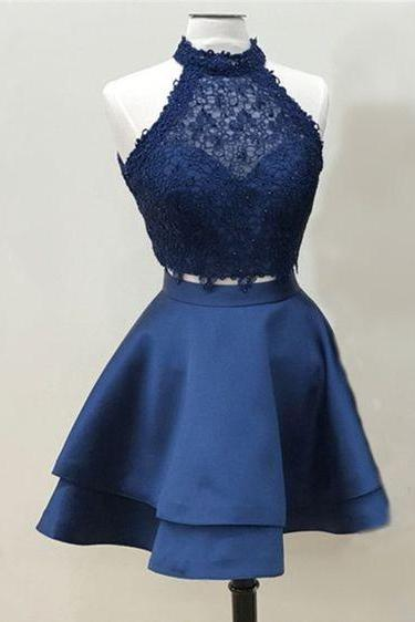 2 Pieces Navy Blue Satin Homecoming Dress Halter Neck Lace AF062585
