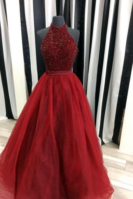 Halter Neck Tulle Prom Dress Beaded Long Women Party Dress AF062602