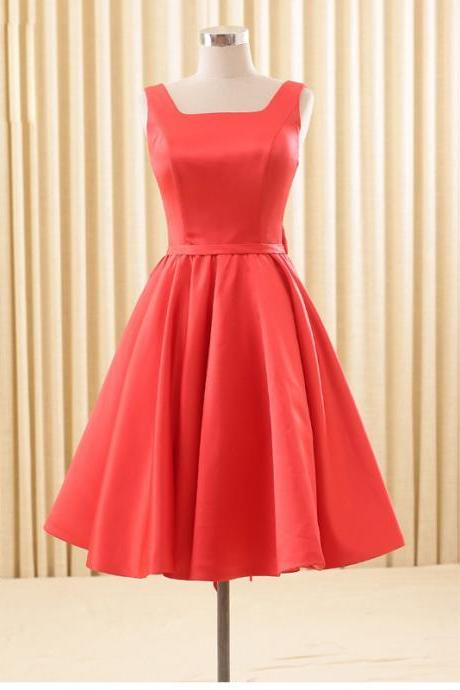 Mid-calf Satin Red Homecoming Dress LC062775