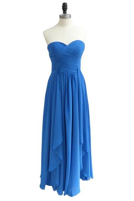 Women's Long Blue Chiffon Bridesmaid Dress V Neck AF062802
