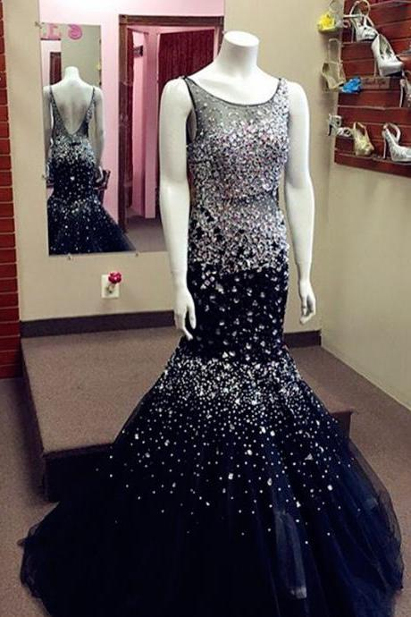 Mermaid Tulle Prom Dress Scoop neck beaded Long Women Dress LC062804
