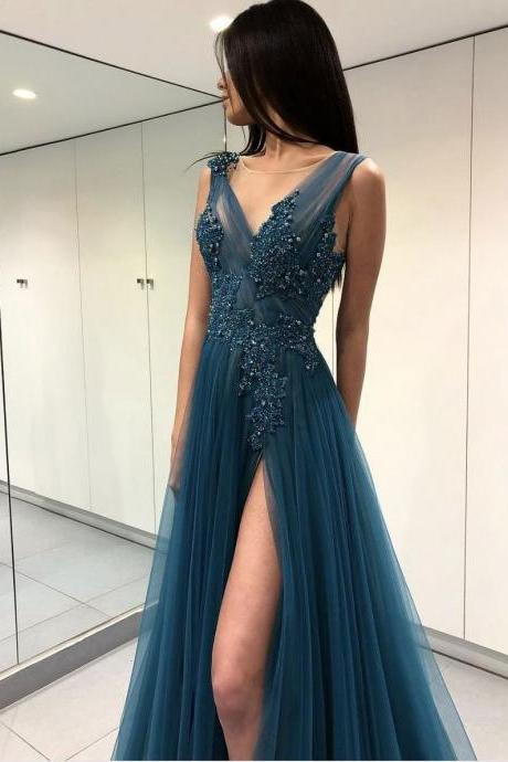 Women's Long Tulle Prom Dress V Neck Lace Appliques AF063003
