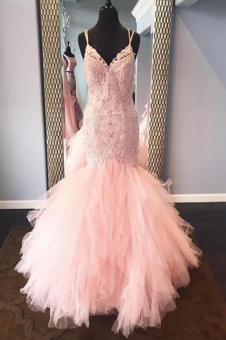 Mermaid Tulle Pink Prom Dress Spaghetti Straps Lace Beaded Women Party Dress AF063006