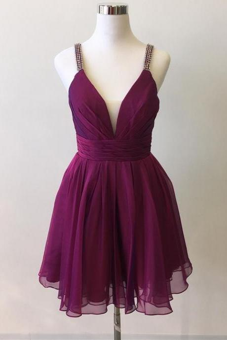 Purple Spaghetti Strap Plunge V Pleated Chiffon Short Homecoming Dress, Cocktail Dress, Party Dress