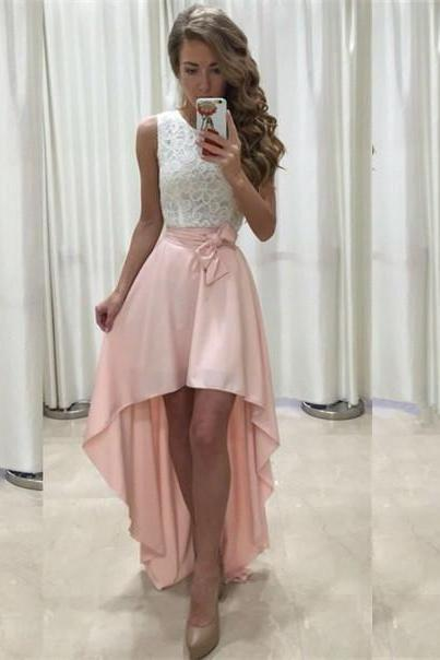 High Low Pink Chiffon Prom Dress Scoop Neck Lace AF0710401
