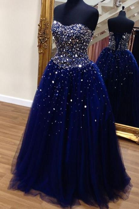 Women Long Strapless Ball Gown Tulle Prom Dress Beaded AF070402