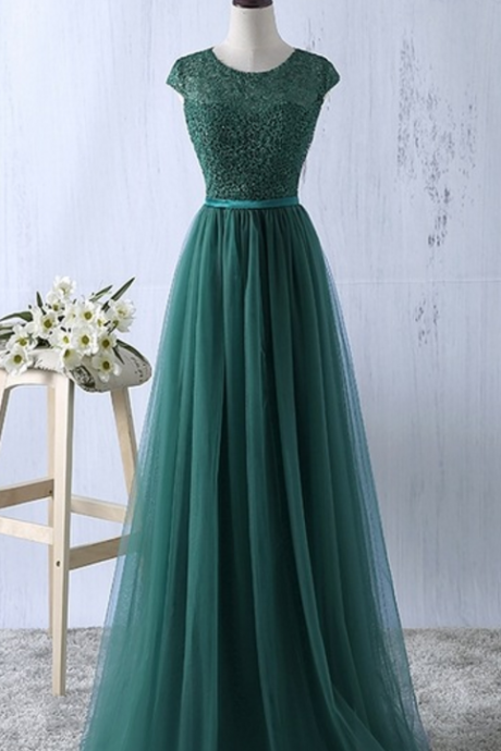 Cap Sleeves Long Tulle Prom Dress Scoop Neck Lace Beaded Women Evening Dress