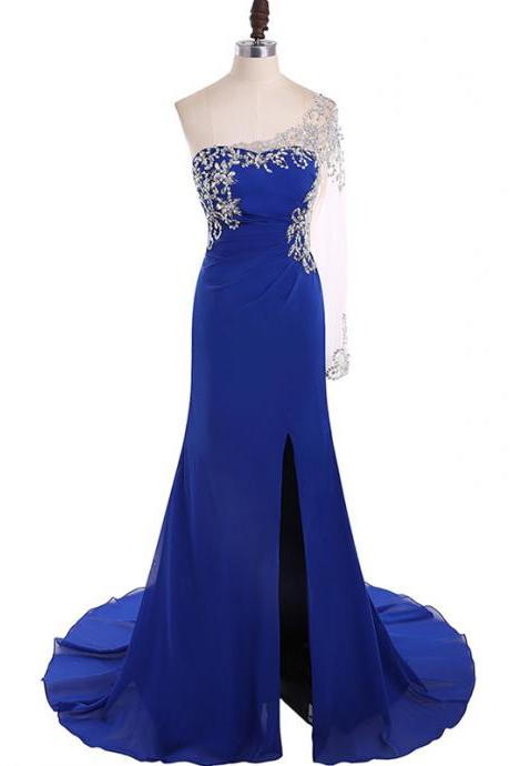 Long Sleeves Royal Blue Chiffon Prom Dress One Shoulder Women party Dress