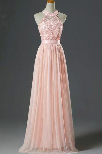 Halter Neck Pink Long Tulle Prom Dress Lace women formal Dress