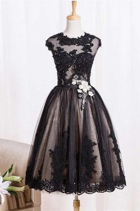 Knee Length Black Tulle Lace Homecoming Dress