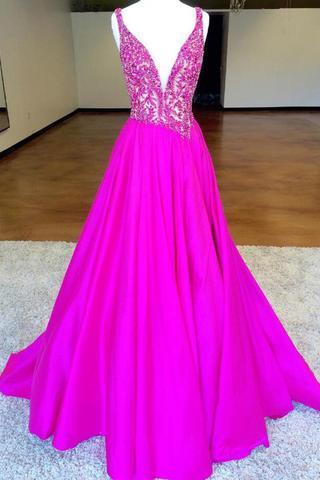 V Neck Long Satin Prom Dress Beaded Women Party Dress