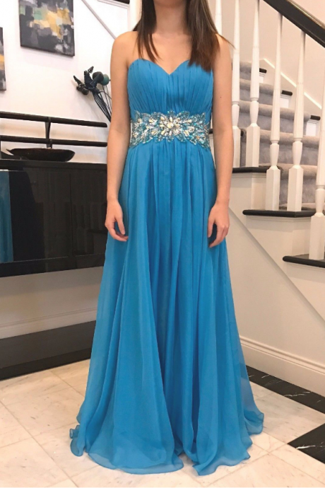 Strapless A-line Long Blue Prom Dress Crystals Women Dress AF741