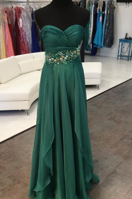 Strapless A-line Long Chiffon Prom Dress Crystals Women Party Dress AF411