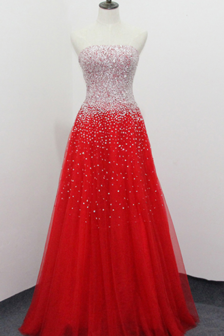 Strapless A-line Red Tulle Prom Dress Beaded Women Party Dress AF44