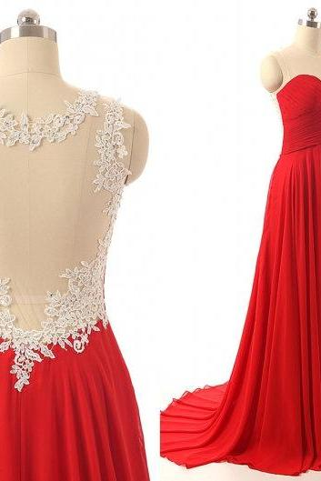 Scoop Neck Long Chiffon Prom Dress Scoop neck Lace Appliques Women Part Dress