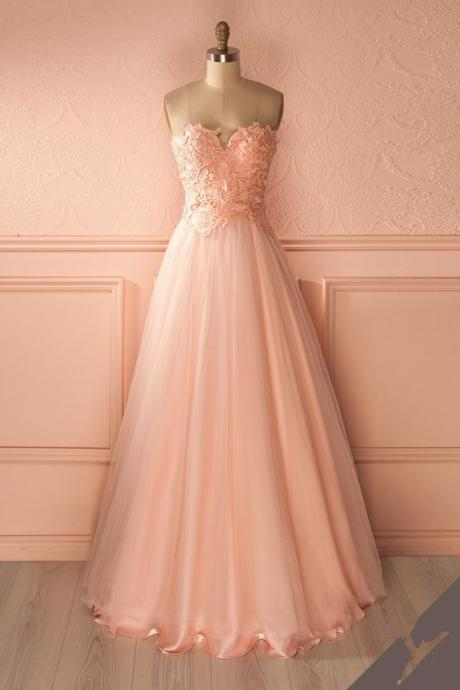 Strapless A-line Tulle Prom Dress Lace Appliques Women dress