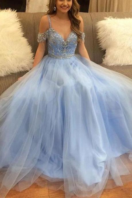 Spaghetti Straps Light Blue Tulle Prom Dress Crystals women Dress