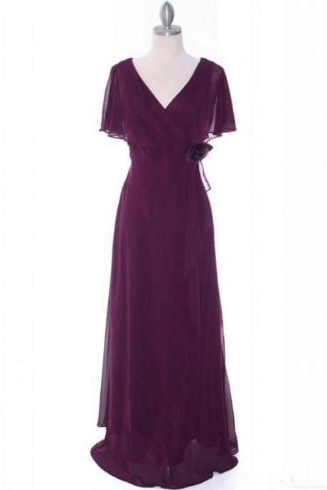 V Neck Long Chiffon Purple Evening Dress Cap Sleeves Women Dress