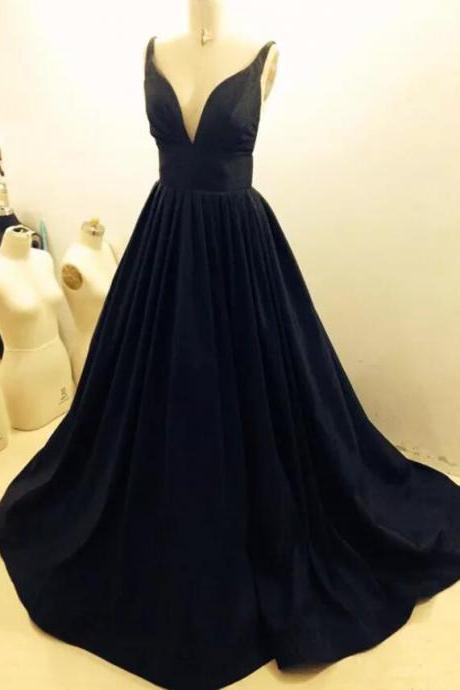 V Neck Long Satin Prom Dress Lace Appliques Floor Length Women Dress