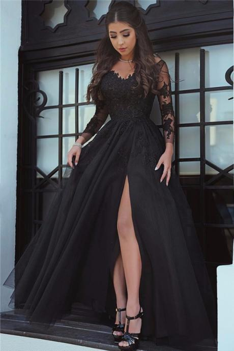 Split Long Satin Prom Dress Long Sleeves Lace Appliques floor Length Women Dress