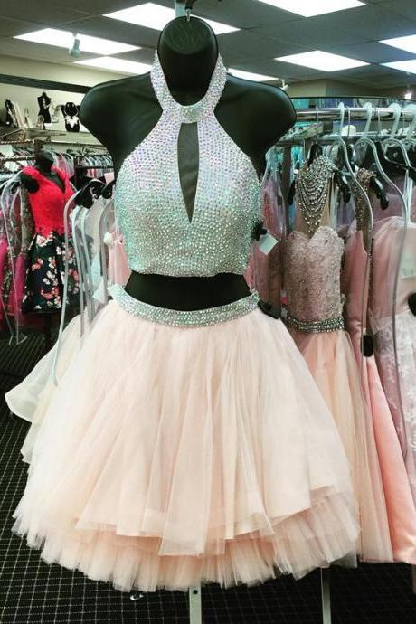 2 Pieces Short Tulle Homecoming Dress Halter Neck beaded Women