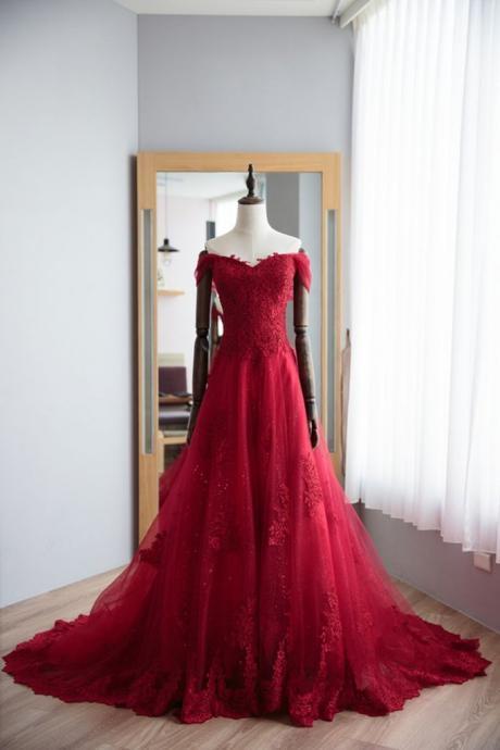 Off the Shoulder Long tulle Prom Dress Floor Length Women Dress