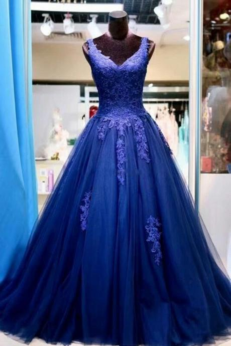 V Neck Purple Tulle Prom Dress Lace Appliques Floor Length A-line Evening Gowns